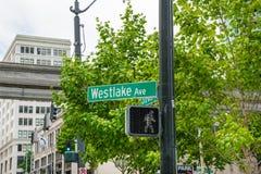 Westlake alei znak Fotografia Royalty Free