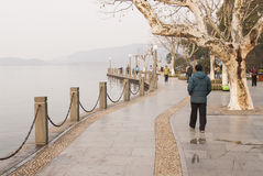 Westlake boardwalk in Hangzhou Royalty Free Stock Photography