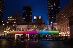 Westlake center rainbow fountain stock photo