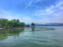 The Westlake. A magical place. The westlake is one of the top tourist attractions in Hangzhou, China. It is as beautiful during the night as it is during the day Stock Photography