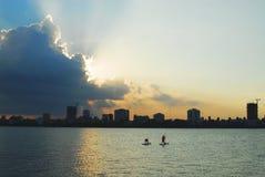 Westlake solnedgång Arkivbilder