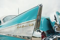 1957 Chevrolet Bel Air Classic Car. Westlake, Texas - October 21, 2017: Tail fin details of an aqua color 1957 Chevrolet Bel Air Hardtop classic car royalty free stock image