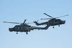 Westland Lynx helicopters in tight formation Stock Photo