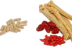 Westliche und chinesische traditionelle Medizin Stockbild