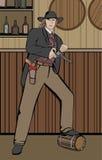 Westlicher Mann mit der Gewehr, die im Saal steht lizenzfreie abbildung