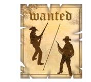 Westliches gewünschtes Zeichen mit Cowboys Stockbilder