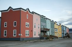 Westmark Hotel in Dawson City, Yukon. This image of the semi-detached structures comprising the Westmark Hotel in Dawson City, Yukon, Canada, was taken at 10:44 Stock Photo