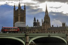 Westminister most i domy parlament england London uk obraz royalty free