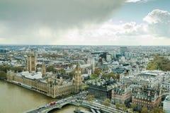 Westminister pałac, parlament w Londyńskim widok z lotu ptaka obraz stock
