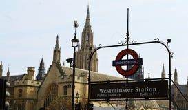 Westminister stacja metru w Londyn Obrazy Royalty Free