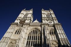 Westminster abbey. Upward front side of westminster abbey Royalty Free Stock Images
