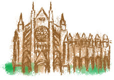 Westminster Abbey abstract silhouette. On multicolor background Stock Image