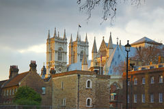 Westminster abbey: back street view, London. Early evening view on the Westminster abbey taken from behind other buildings, London. The picture looks also great Stock Photography