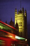 Westminster Abbey with bus. Night shot of Westminster Abbey with London bus stock photography