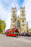 Westminster Abbey cathedral and doubledecker, London. View of Westminster Abbey cathedral with doubledecker bus, London, United Kingdom Royalty Free Stock Image