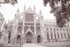 Westminster Abbey Church, London, England, UK. Westminster Abbey Facade, Westminster, London, England, UK in Black and White Sepia Tone Stock Photography