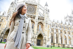 Westminster Abbey church London with young woman. Professional or tourist, England, Great Britain, UK Royalty Free Stock Photos