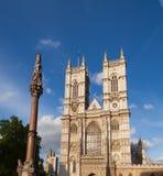 Westminster Abbey and Column London UK. Western facade of Westminster Abbey with Westminster Column, City of Westminster, Central Area of Greater London, UK stock image