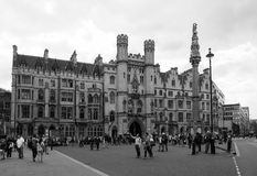 Westminster Abbey Dean yard in London black and white stock photography