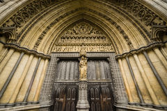 Westminster Abbey Doorway, London, England Großbritannien Stockbilder