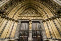 Westminster Abbey Doorway, London, England UK Arkivbilder
