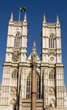 Westminster Abbey facade. The imposing West facade of Westminster Abbey in central London Stock Photos