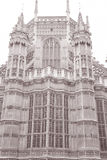 Westminster Abbey Facade, Westminster, London. England, UK in Black and White Sepia Tone Royalty Free Stock Image