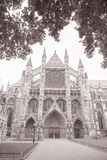 Westminster Abbey Facade, Westminster, London. England, UK in Black and White Sepia Tone Royalty Free Stock Images