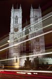 Westminster Abbey and Light Trails in London Royalty Free Stock Photos