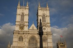 Westminster Abbey; London. Facade of Westminster Abbey in London, England, UK Stock Photos