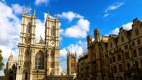 Westminster Abbey London England. A photo showing Westminster Abbey the medieval landmark cathedral built by William the Conquer in 1066 in London, United Royalty Free Stock Photos