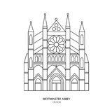 Westminster Abbey, London landmark vector illustration. Outline design element for tourism banner, flayer, website background Stock Photos