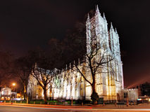 Westminster Abbey at night, London stock photo