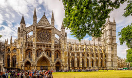 Westminster Abbey Panoramic. Multi-shop panorama of Westminster Abbey, London in high season stock photos