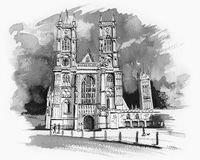 Westminster Abbey Sketch. Pen and ink illustration of Westminster Abbey (Royal Wedding Stock Photo