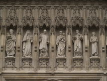Westminster Abbey statues. Statues at the front facade of Westminster Abby, London, UK Royalty Free Stock Image
