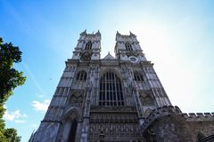 Westminster abbey sunlight stock images