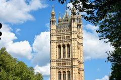 Westminster Abbey viewed from Victoria tower gardens, London, UK.  royalty free stock photography