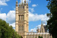 Westminster Abbey viewed from Victoria tower gardens, London, UK.  royalty free stock photo