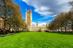 Westminster Abbey viewed from Victoria tower gardens, London, UK Royalty Free Stock Photography