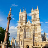 Westminster Abbey. Western facade of Westminster Abbey with Westminster Column in London Stock Photos