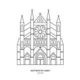 Westminster abbotskloster, illustration för London gränsmärkevektor Arkivfoton