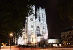 Westminster abbotskloster, London, England, på natten Royaltyfri Foto