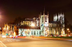 Westminster abbotskloster på natten, London Arkivfoto