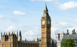 Westminster and Big Ben. Over river Thames Stock Photography
