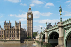 Westminster and Big Ben. Over river Thames Stock Photo