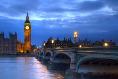 Westminster Bridge. London, Government Houses of the Parliament and Big Ben in Westminster Stock Image