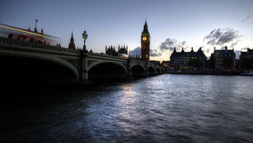 Westminster Bridge. Early evening at Westminster bridge with Big Ben in the background Royalty Free Stock Images