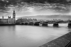 London city skyline. Panoramic black and white view of London city skyline looking over the river Thames to Westminster Bridge and Big Ben,, England stock photo