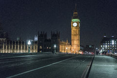 Westminster Bridge with Big Ben and Houses of Parliament at night Royalty Free Stock Photography